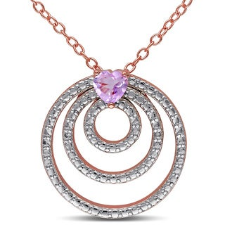 Miadora Rose Goldplated Silver Heart-cut Rose de France Circle Necklace