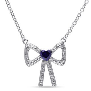 Miadora Sterling Silver Heart-cut Created Blue Sapphire Bow Necklace