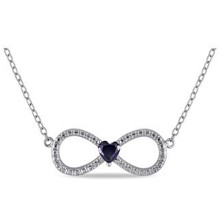 Miadora Sterling Silver Created Blue Sapphire Heart Infinity Necklace
