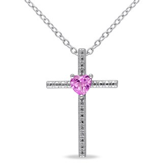 Miadora Sterling Silver Created Pink Sapphire Heart Cross Necklace