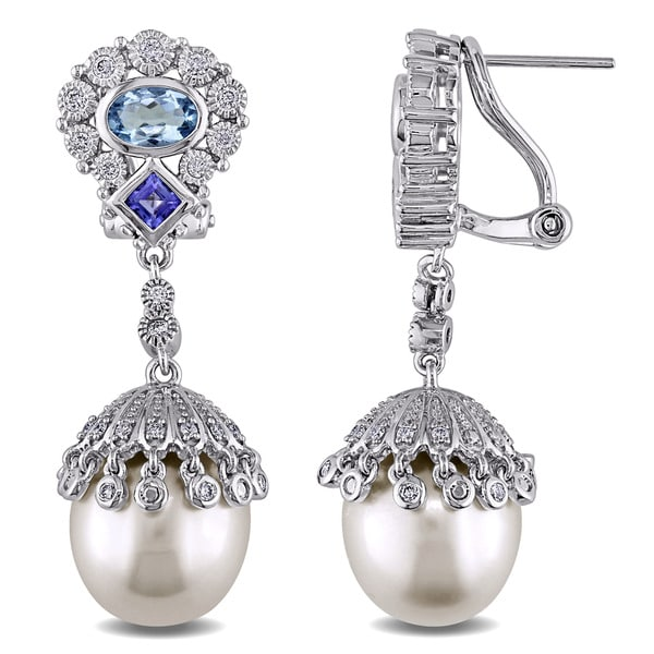 7ff2f3e9e Miadora Signature Collection 14k White Gold South Sea Pearl Aquamarine,  Tanzanite and 1/2ct