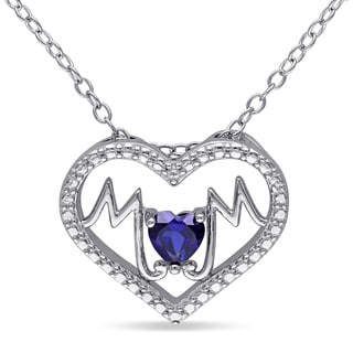 Miadora Sterling Silver Created Blue Sapphire Mom Heart Necklace