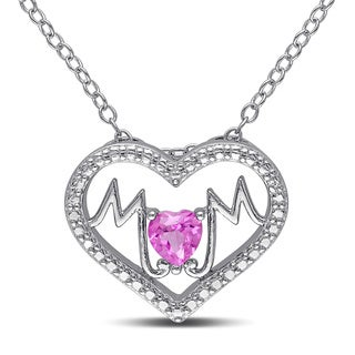 Miadora Sterling Silver Created Pink Sapphire 'Mom' Heart Necklace