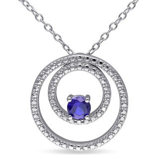 Miadora Sterling Silver Created Blue Sapphire Circle Necklace