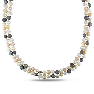 Miadora Cultured Freshwater Multi-color Pearl Strand Necklace (5-7 mm)
