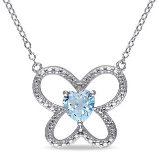 Miadora Sterling Silver Heart-cut Sky Blue Topaz Butterfly Necklace