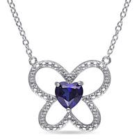 Miadora Sterling Silver Heart-cut Created Blue Sapphire Butterfly Necklace
