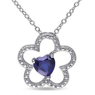 Miadora Sterling Silver Heart-cut Created Blue Sapphire Flower Necklace