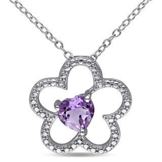 Miadora Sterling Silver Heart-cut Amethyst Flower Necklace