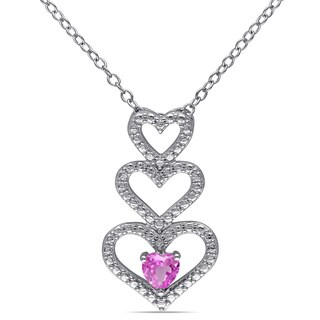 Miadora Sterling Silver Created Pink Sapphire Triple-heart Necklace