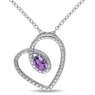 Miadora Sterling Silver Amethyst Heart Necklace