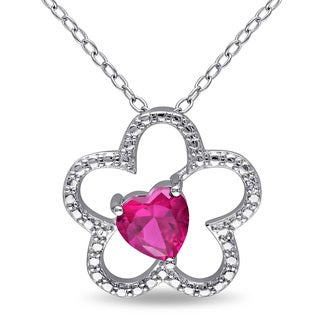 Miadora Sterling Silver Heart-cut Created Ruby Flower Necklace