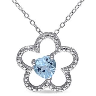 Miadora Sterling Silver Heart-cut Sky Blue Topaz Flower Necklace
