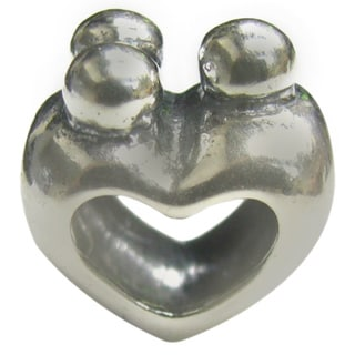 Queenberry Sterling Silver Happy Family of Three Heart European Bead Charm
