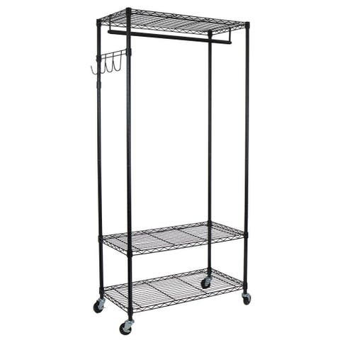 Oceanstar Black Garment Rack with Adjustable Shelves and Hooks