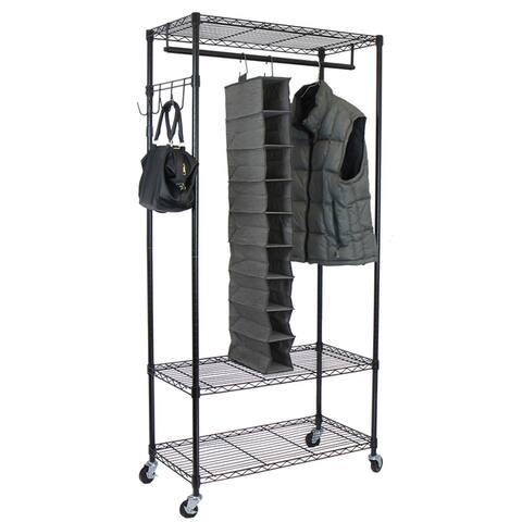 Oceanstar Black Garment Rack with Adjustable Shelves and Hooks