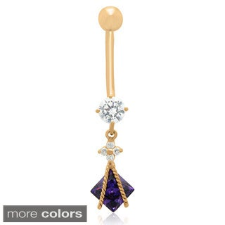 Gioelli 10k Gold Square-cut Cubic Zirconia Designer Dangle Belly Ring