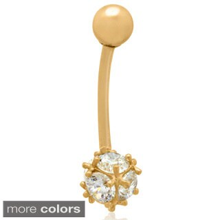 Gioelli 10k Gold Cubic Zirconia Ball Belly Ring