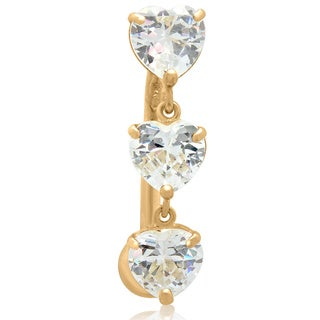 Gioelli 10k Yellow Gold Cubic Zirconia 3-heart Dangle Belly Ring