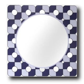 "Midnight Blue/ Grey Square Decorative Wall Mirror (20"" x 20"")"