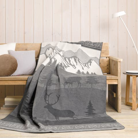 IBENA Nature Trail Jacquard Oversized Throw Blanket