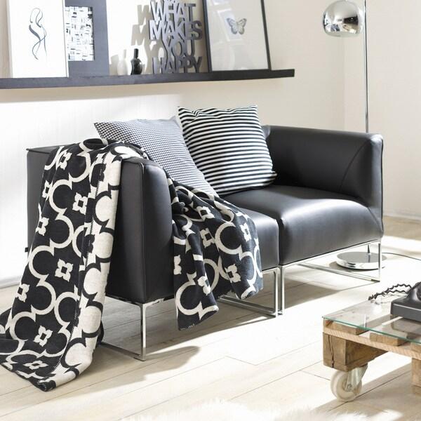 IBENA Sorrento Black/ White Lattice Jacquard Oversized Throw Blanket