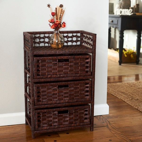 Paper Rope Three-drawer Chest - N/A