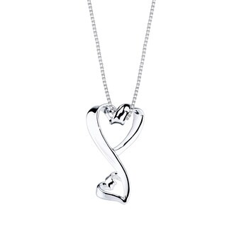 Love Grows Sterling Silver Dual Heart Necklace
