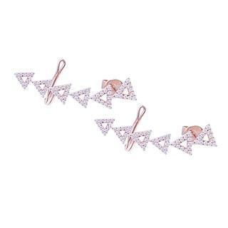 14k Rose Gold 1/4ct TDW Diamond Triangles Ear Cuff (G-H, SI1-SI2)