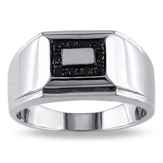 Miadora Sterling Silver Men's 1/10ct TDW Black Diamond Ring