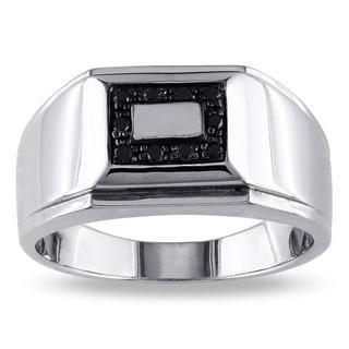 Miadora Sterling Silver Men's 1/10ct TDW Black Diamond Ring