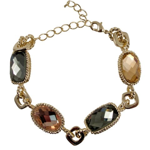 Luxiro Goldtone Faceted Glass Oval and Rectangle Link Bracelet