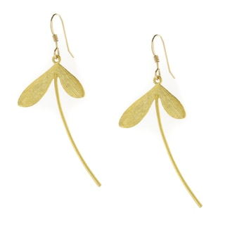 Handmade 16K Gold Plated Honeysuckle Drop Dangle Earrings (USA)