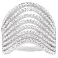 La Preciosa Sterling Silver Micro-pave CZ Large Wavy Ring