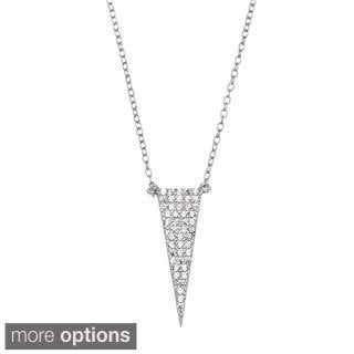 La Preciosa Sterling Silver Micropave CZ Triangle Necklace