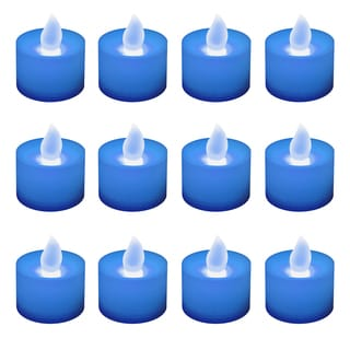 Battery Operated Blue LED Tea Light Candles (12-pack)