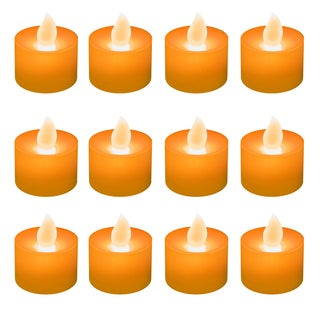 Battery Operated Orange LED Tea Light Candles (12-pack)
