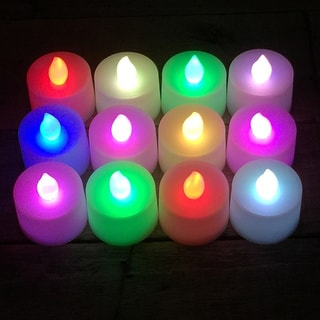 Battery Operated Color Changing LED Flickering Tea Light Candles (Set of 12)