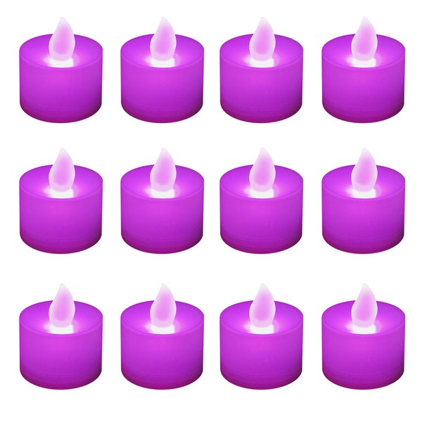 Battery Operated Purple LED Tea Light Candles (12-pack)