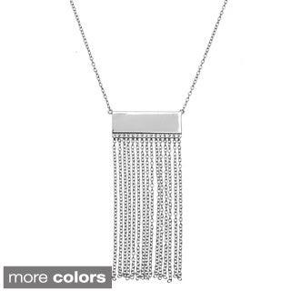 La Preciosa Sterling Silver Bar with Tassels Necklace
