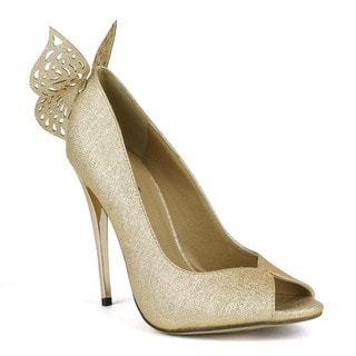 Fahrenheit Women's Eve-01 Embellished Peep-toe Pumps