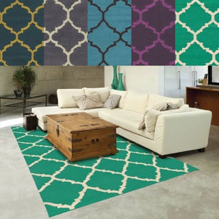 PANTONE Universe Matrix Flat-weave Scalloped Lattice Wool Rug (3'6 x 5'6)
