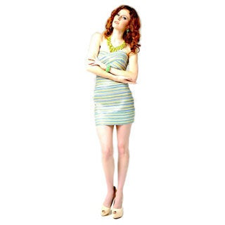 Multi Color Strapless Bandage Dress