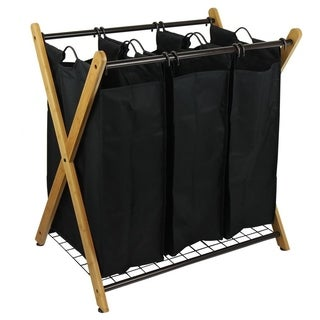 Oceanstar X-Frame Bamboo 3-Bag Laundry Sorter