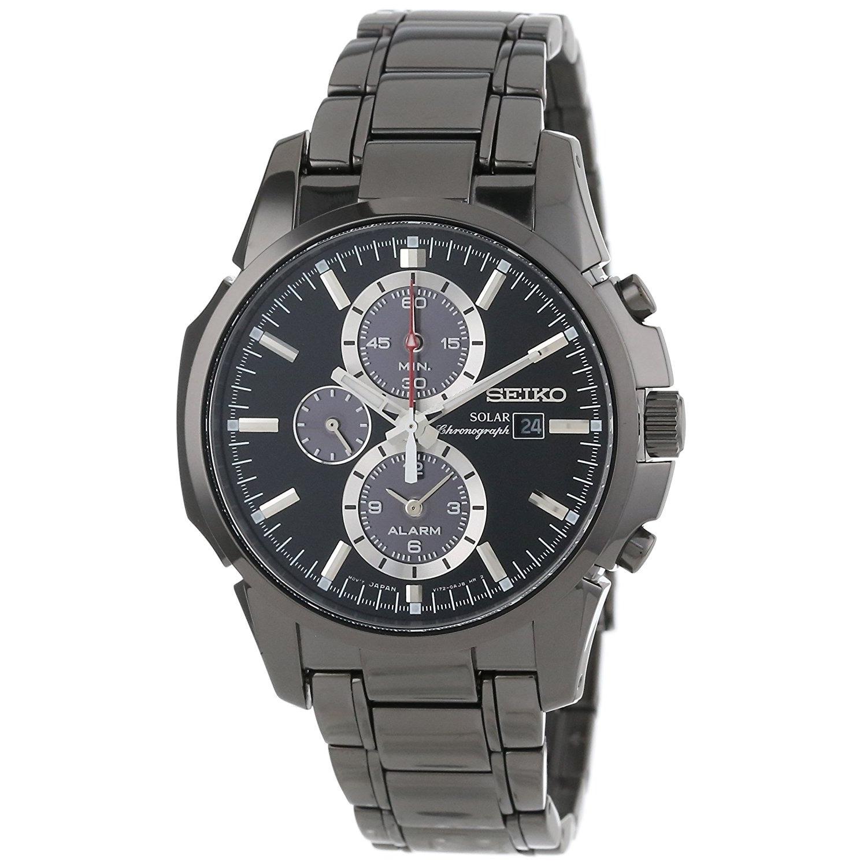 Seiko Men's SSC095 Classic Round Black Bracelet Watch (Se...