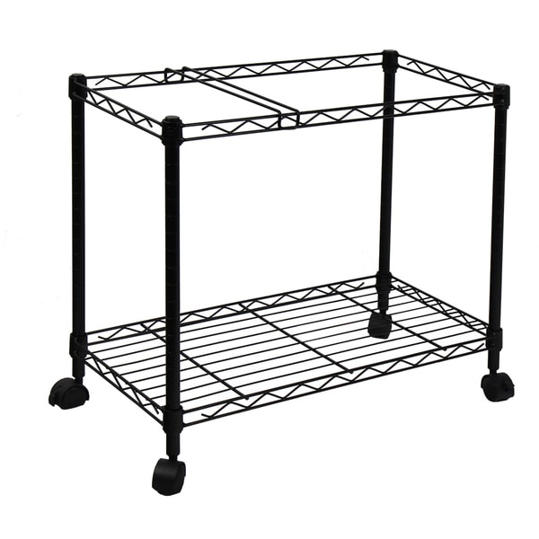 Oceanstar Portable 1-tier Black Metal Rolling File Cart