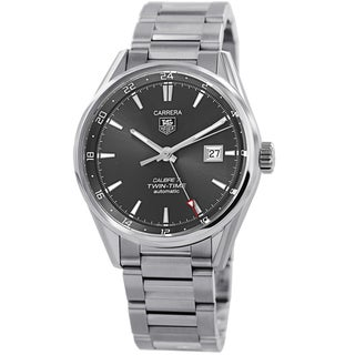 Tag Heuer Men's WAR2012.BA0723 'Carrera' Grey Dial Stainless Steel GMT Automatic Watch