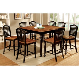 Furniture of America Levole 2-Tone Country Style Counter Height Table with Leaf