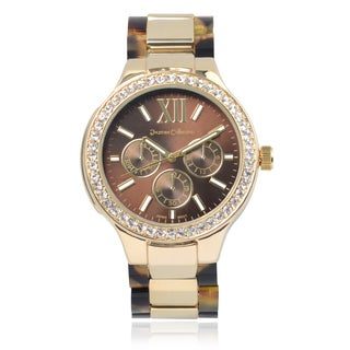 Journee Collection Rhinestone Link Watch