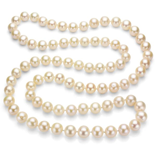 DaVonna White Freshwater Pearl 36-inch Endless Necklace (9-10 mm)